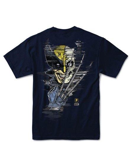 Primitive Paul Jackson x Marvel - Wolverine Camiseta para Homem Navy