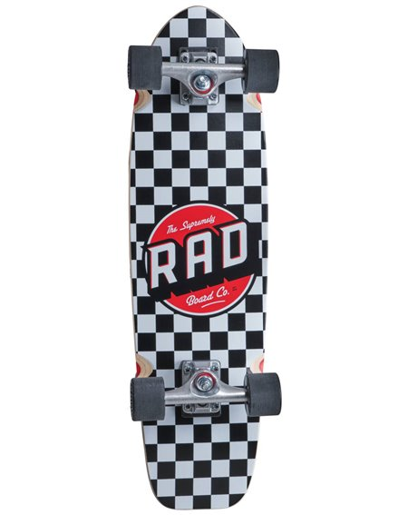 Rad Retro Roller Skateboard Cruiser Checkers Black/White