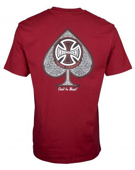 Independent CBB Cross Spade T-Shirt Homme Maroon