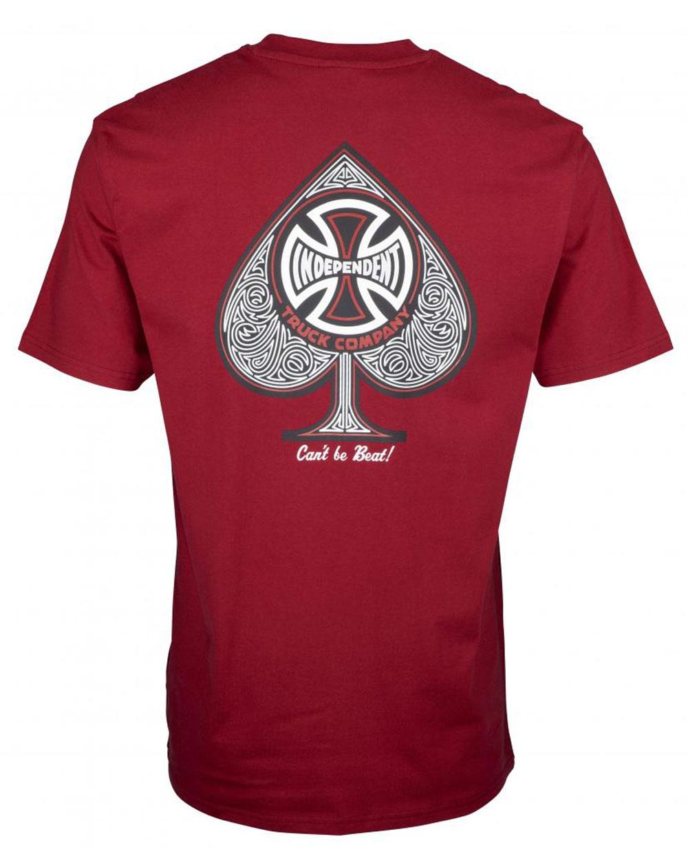 Independent CBB Cross Spade T-Shirt Uomo Maroon