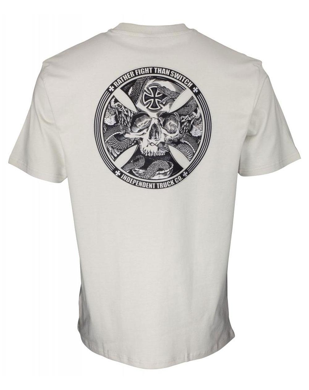 Independent Men's T-Shirt FTS Skull Silver