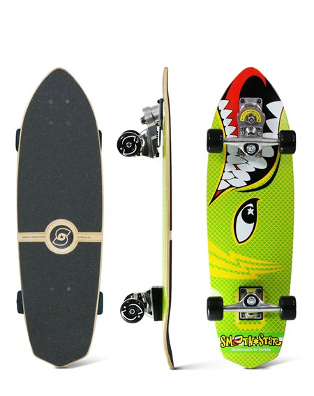 "Smoothstar Barracuda 30"" Surfskate Green/Yellow"