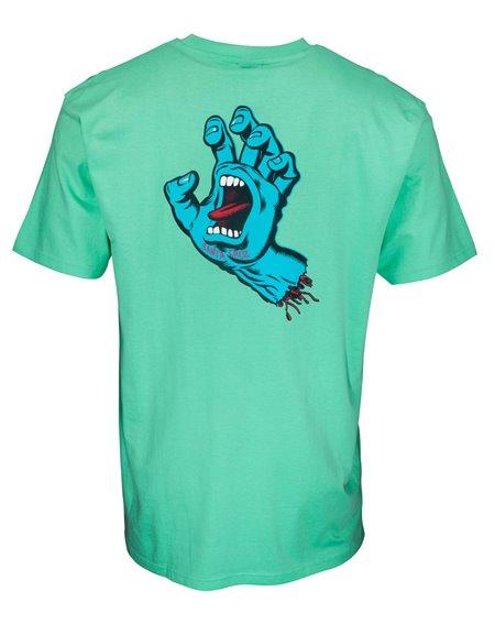 Santa Cruz Men's T-Shirt Screaming Hand Chest Jade Green