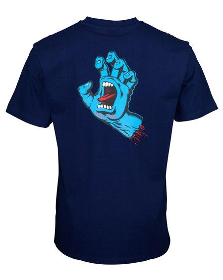 Santa Cruz Screaming Hand Chest Camiseta para Homem Dark Navy