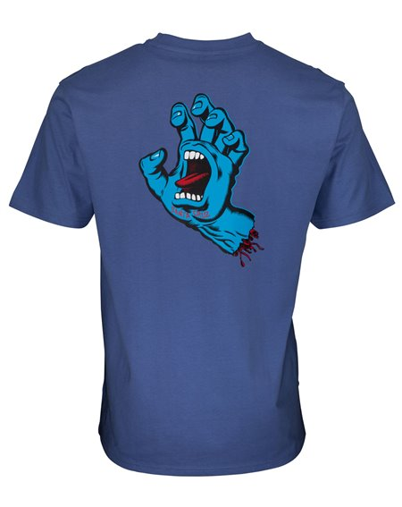 Santa Cruz Men's T-Shirt Screaming Hand Chest Washed Navy