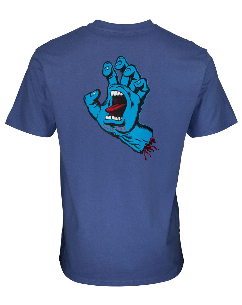 Santa Cruz Screaming Hand Chest Camiseta para Homem Washed Navy