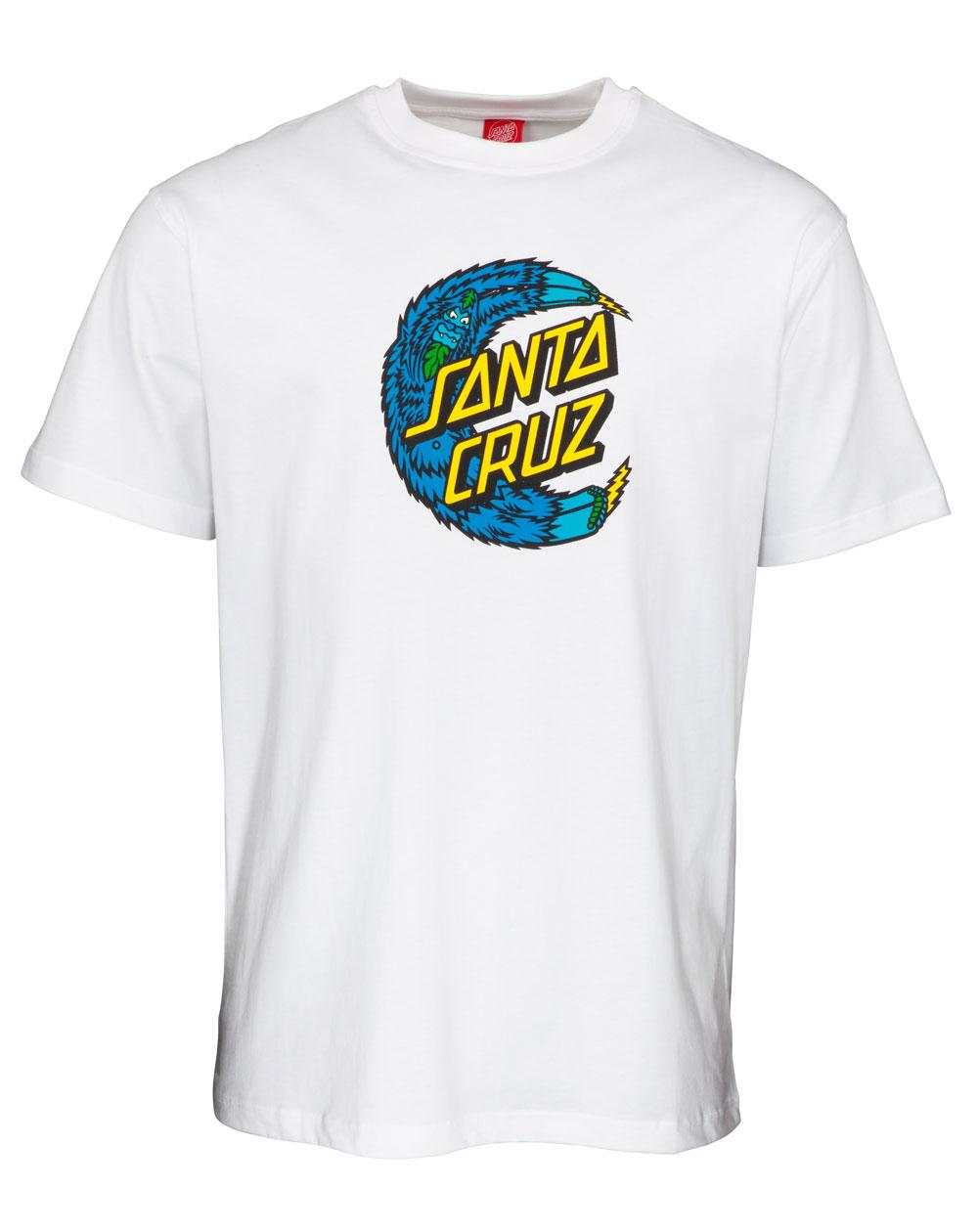 Santa Cruz Men's T-Shirt Bigfoot Moon Dot White