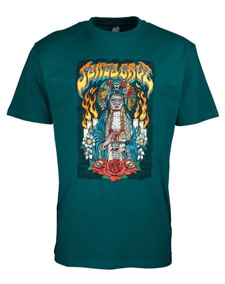 Santa Cruz Santa Muerte Camiseta para Homem Teal