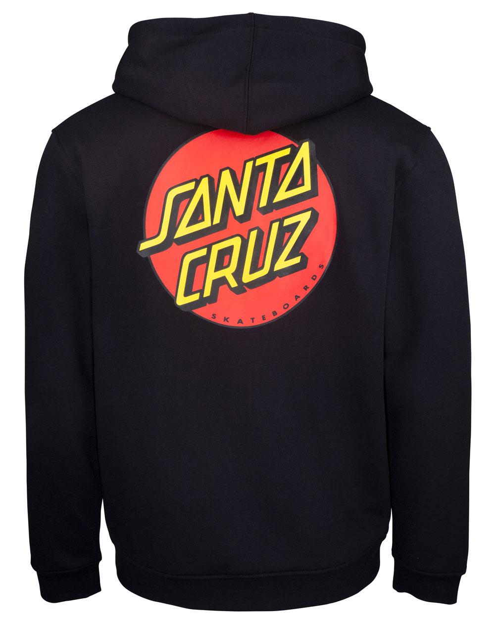 Santa Cruz Classic Dot Felpa con Cappuccio Zip Uomo Black