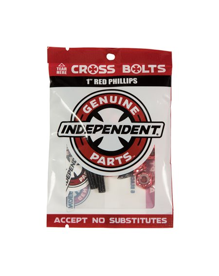 """Independent Tornillos Skateboard Genuine Parts 1"""" Phillips Black/Red"""