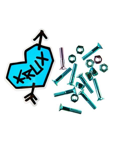"Krux Krome 1"" Phillips Skateboard Hardware Set Blue/Lavendar"