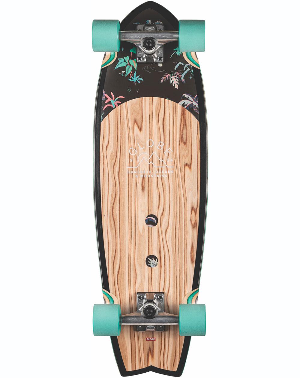 """Globe Sun City 30"""" Skateboard Cruiser Olivewood/Neon Jungle"""