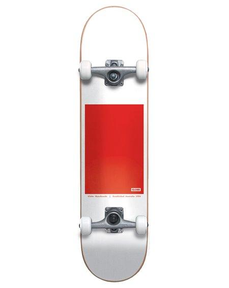 """Globe G0 Block Serif 8"""" Complete Skateboard White/Red"""
