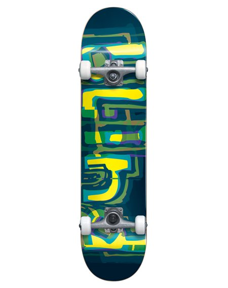 "Blind Skateboard Completo Logo Glitch 7.875"" Green/Yellow"