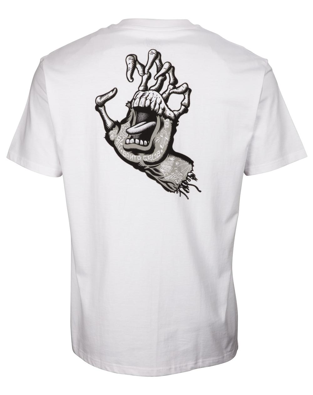 Santa Cruz Herren T-Shirt Tattoo Hybrid Hand White