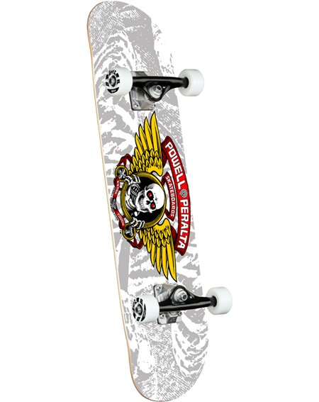 """Powell Peralta Winged Ripper 8"""" Complete Skateboard Silver"""