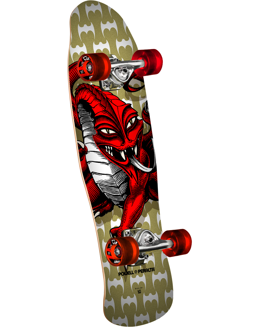 "Powell Peralta Mini Cab Dragon II 29.5"" Skateboard Cruiser Gold"