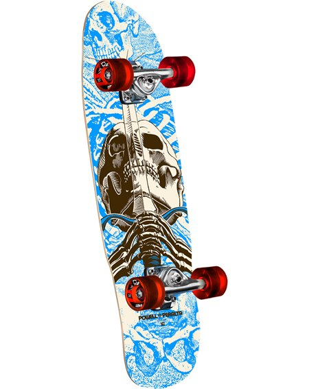 """Powell Peralta Skateboard Cruiser Mini Skull & Sword 30"""" Blue"""