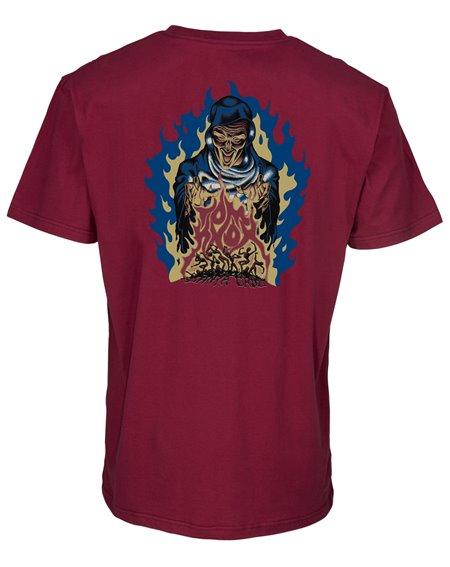 Santa Cruz Knox Firepit Camiseta para Homem Burgundy