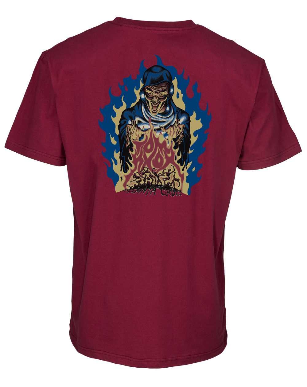 Santa Cruz Knox Firepit T-Shirt Uomo Burgundy