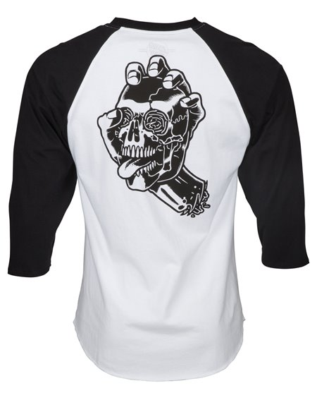 Santa Cruz Men's T-Shirt Screaming Skull Baseball Black/White