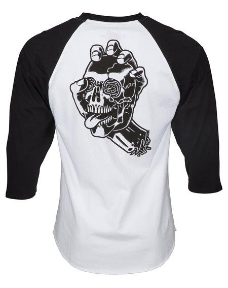 Santa Cruz Men's T-Shirt Screaming Skull Baseball Black/White