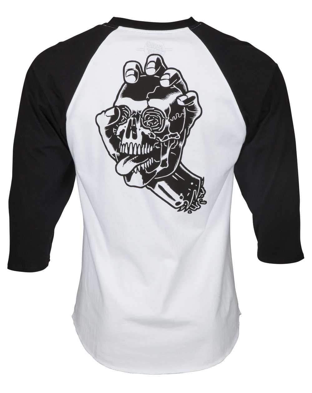 Santa Cruz Screaming Skull Baseball Camiseta para Homem Black/White