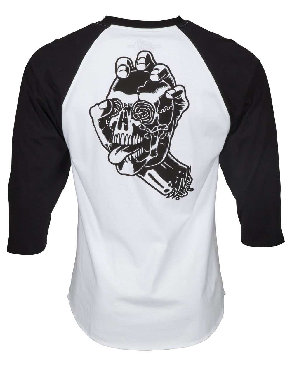 Santa Cruz Screaming Skull Baseball T-Shirt Uomo Black/White