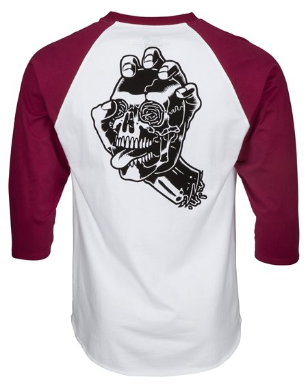 Santa Cruz Men's T-Shirt Screaming Skull Baseball Burgundy/White
