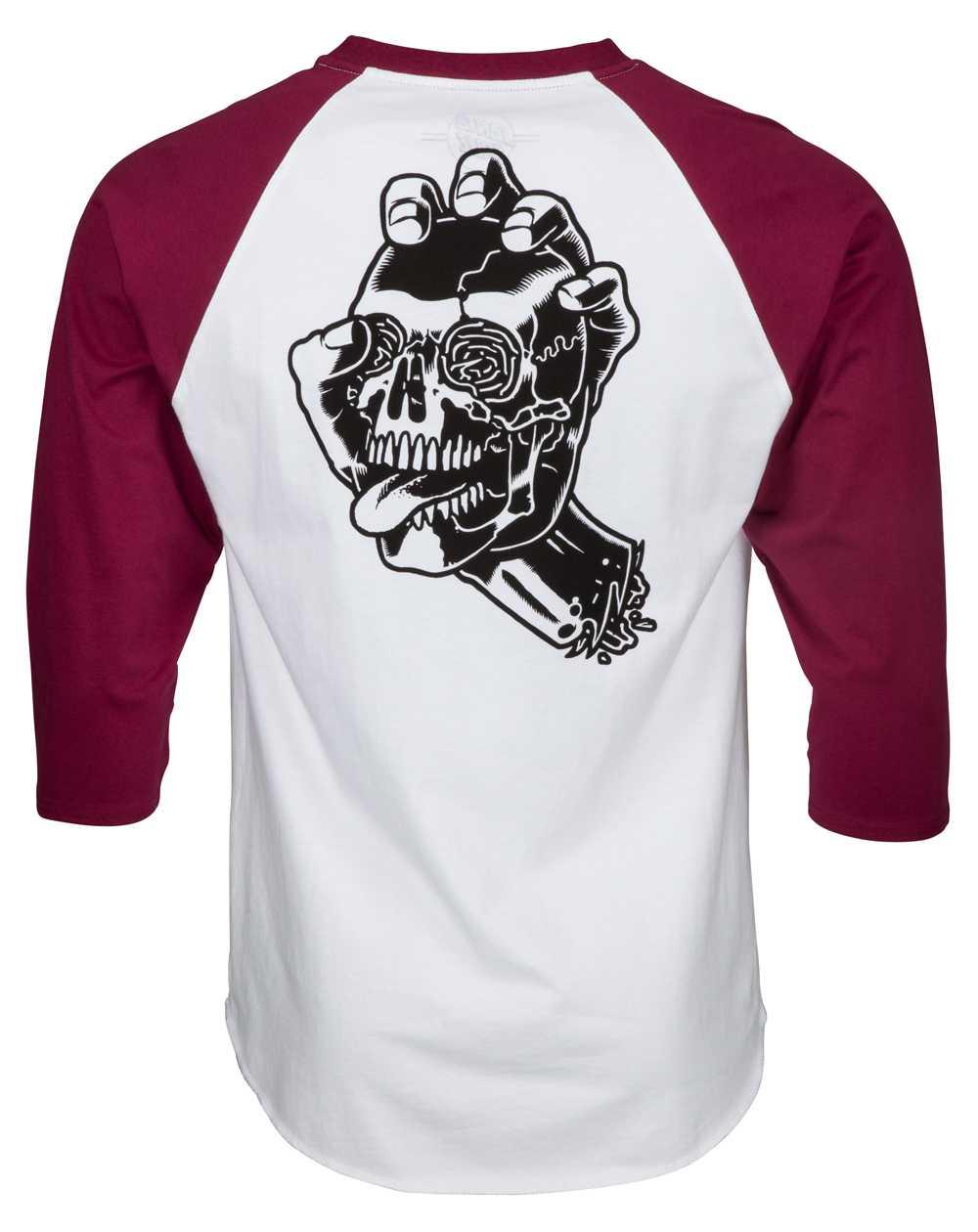 Santa Cruz Screaming Skull Baseball T-Shirt Homme Burgundy/White