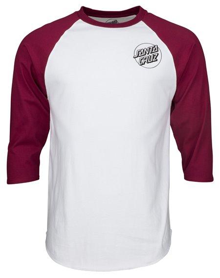 Santa Cruz Screaming Skull Baseball Camiseta para Homem Burgundy/White