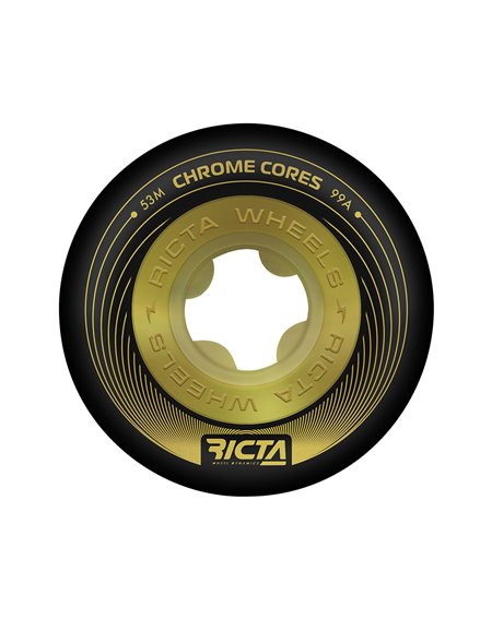 Ricta Chrome Core 53mm 99A Skateboard Räder Black/Gold 4 er Pack