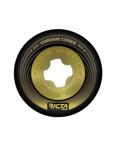 Ricta Rodas Skate Chrome Core 52mm 99A Black/Gold 4 peças