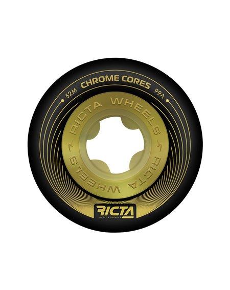 Ricta Roues Skateboard Chrome Core 52mm 99A Black/Gold 4 pc