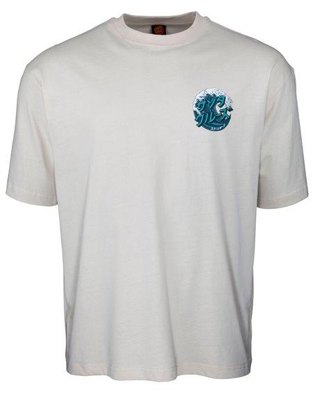Santa Cruz Japanese Wave Dot T-Shirt Uomo Off White