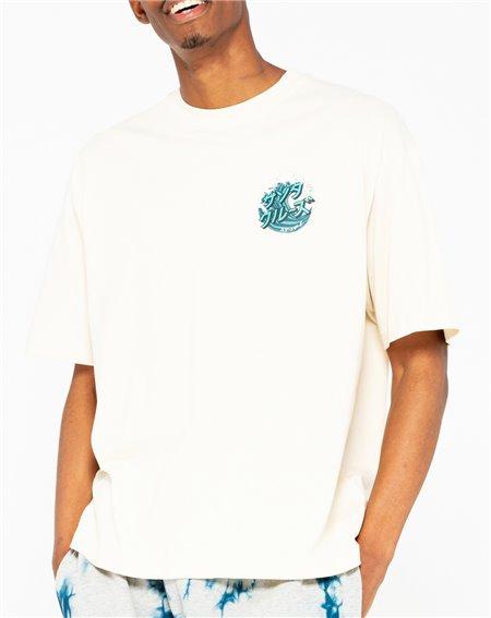 Santa Cruz Men's T-Shirt Japanese Wave Dot Off White