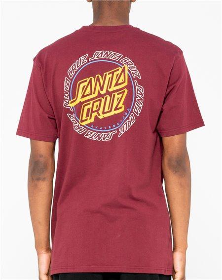 Santa Cruz Men's T-Shirt Hollow Ring Dot Burgundy