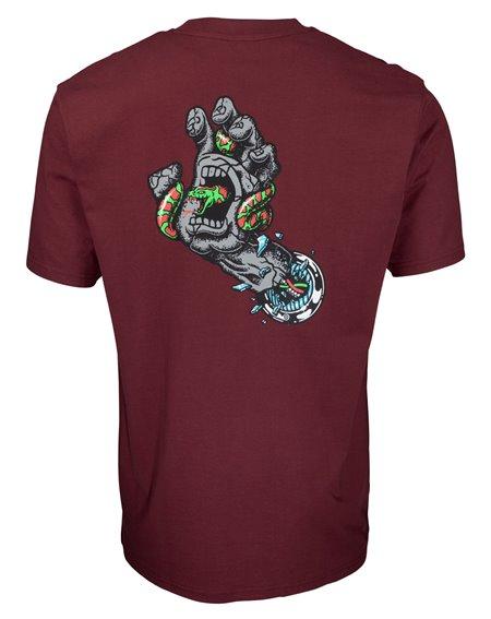Santa Cruz Men's T-Shirt Pool Snakes Hand Burgundy