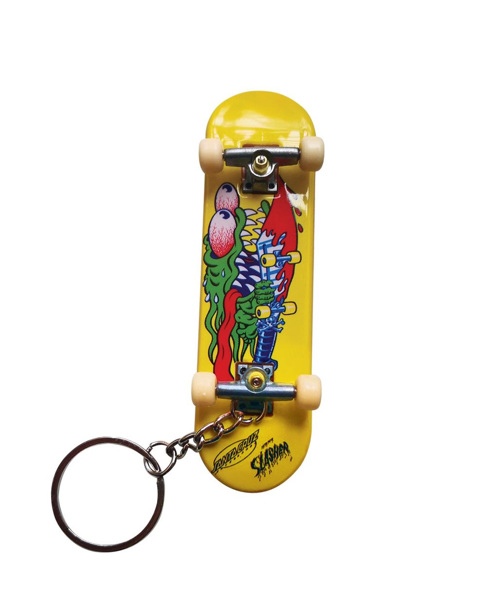 Santa Cruz Slasher Fingerboard Keychain Yellow