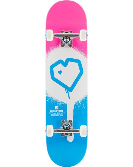 "Skateboard Spray Heart V2 8.25"" Blue/Pink"