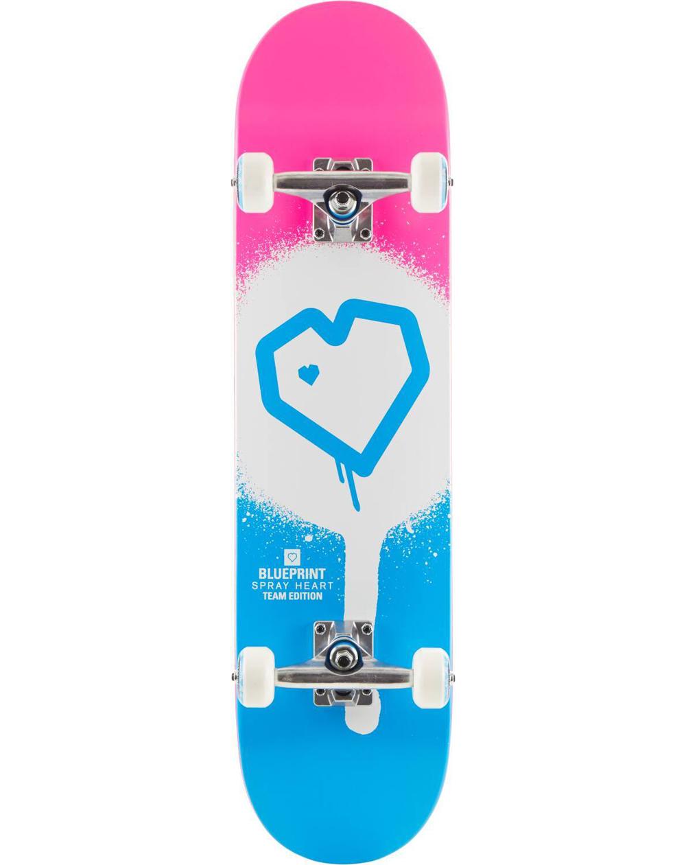 "Blueprint Spray Heart V2 8.25"" Complete Skateboard Blue/Pink"