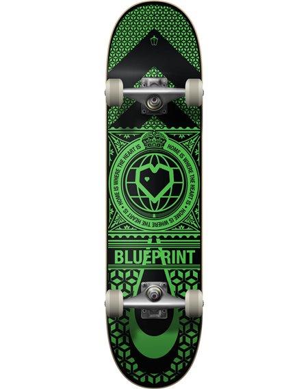 "Blueprint Home Heart 8.00"" Complete Skateboard Black/Green"