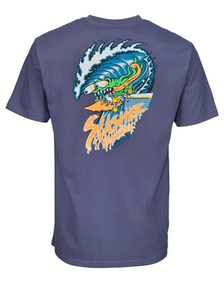 Santa Cruz Wave Slasher T-Shirt Uomo Vintage Navy