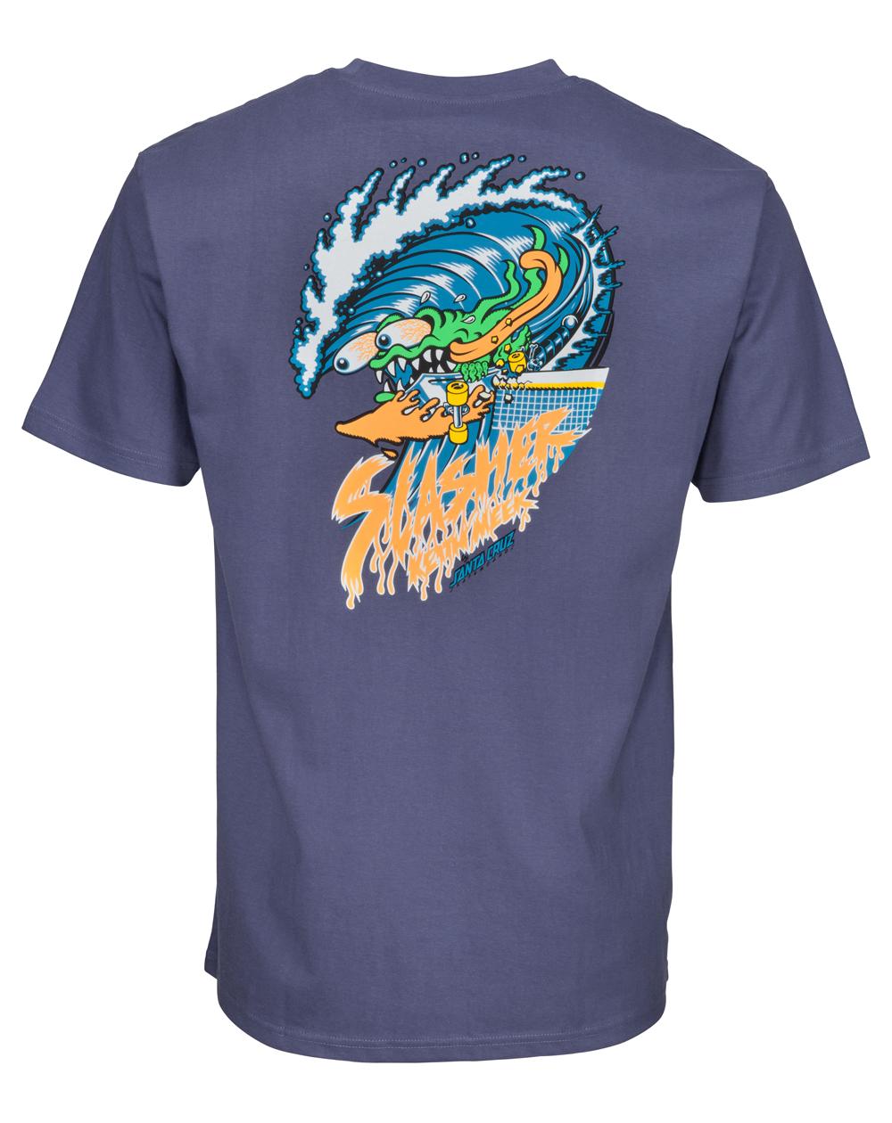 Santa Cruz Men's T-Shirt Wave Slasher Vintage Navy