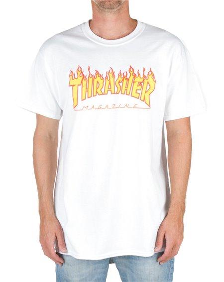 Thrasher Flame Camiseta para Hombre White