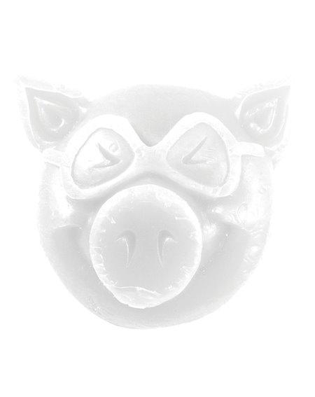 Pig Wheels Pig Head Skateboard Wachs White