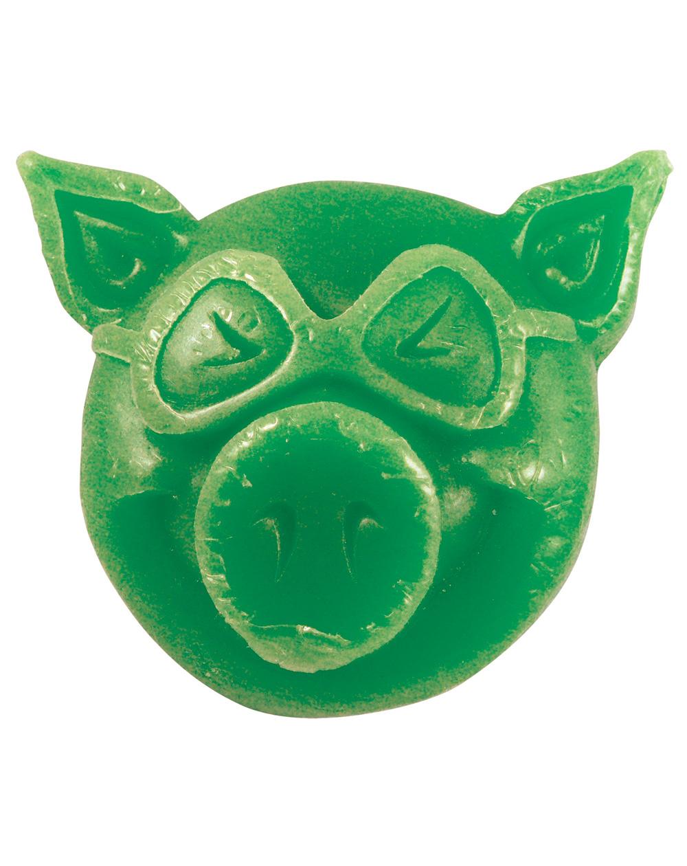 Pig Wheels Pig Head Skateboard Wax Green