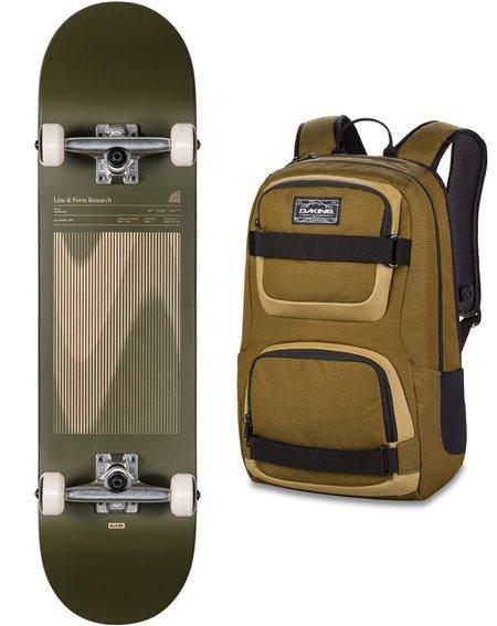 """Globe G1 Lineform 8"""" Skateboard with Backpack Olive"""