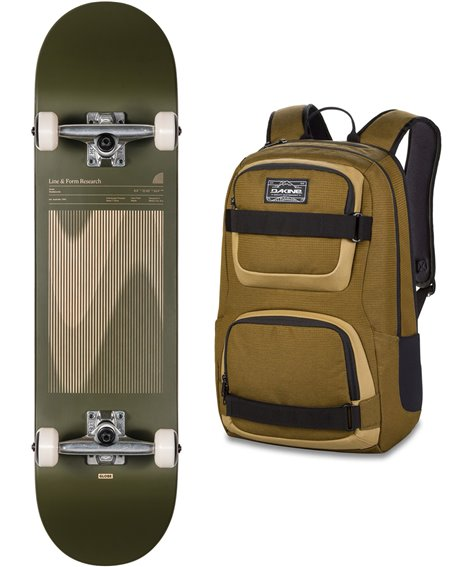 "Globe Skateboard avec Sac à Dos G1 Lineform 8"" Olive"