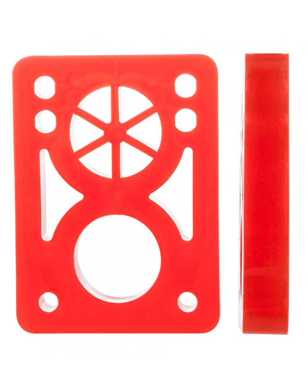 D-Street Soft 1/2-inch Skateboard Baseplates Clear Red 2 er Pack